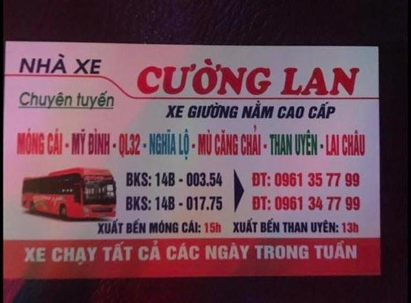 Nhà xe Cường Lan (Móng Cái - Lai Châu)