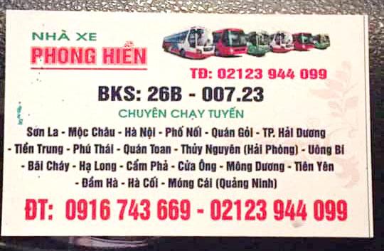 Nhà xe Phong Hiền (Sơn La - Móng Cái - Quảng Ninh)