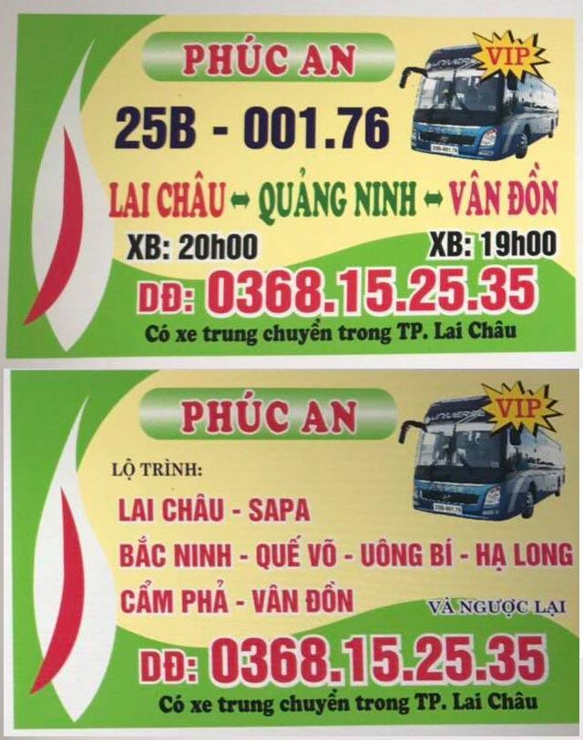 Nhà xe Phúc An (Lai Châu - Quảng Ninh - Cẩm Phả - Vân Đồn)