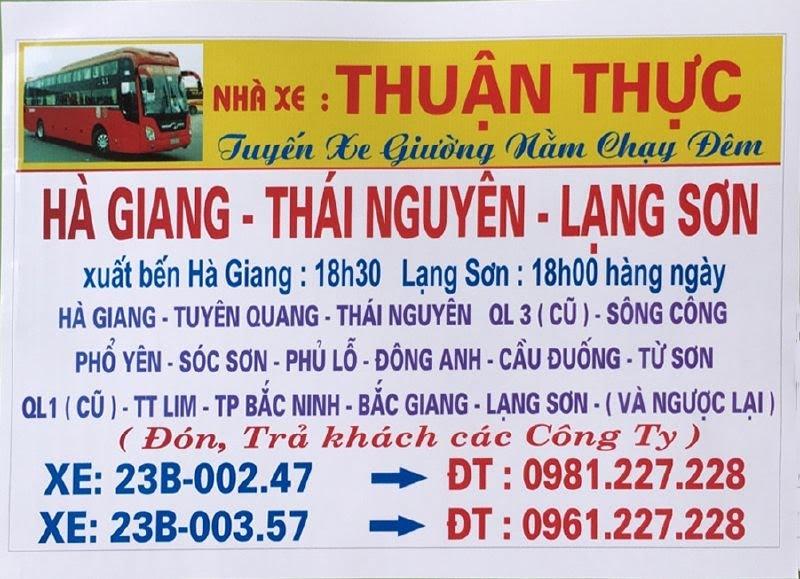 Nhà xe Thuận Thực (Hà Giang - Thái Nguyên - Lạng Sơn)