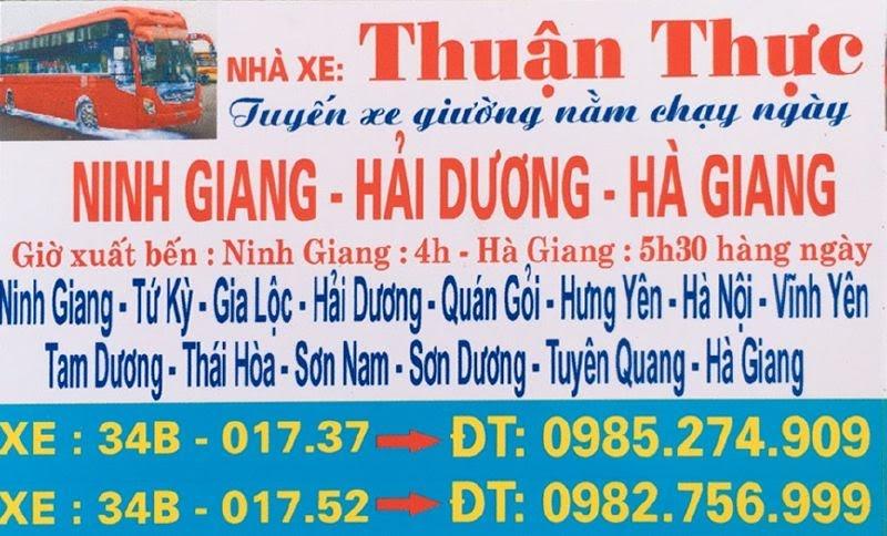Nhà xe Thuận Thực (Ninh Giang - Hải Dương - Hà Giang)