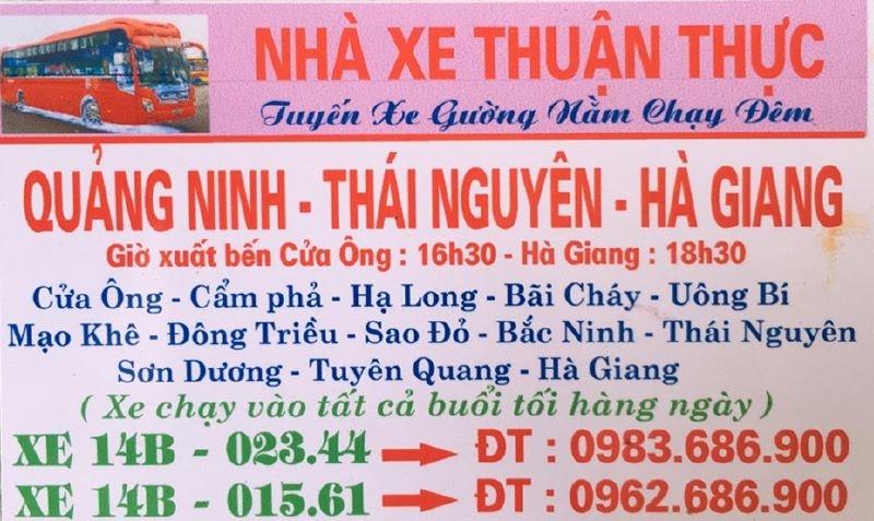 Nhà xe Thuận Thực (Cửa Ông - Hà Giang)