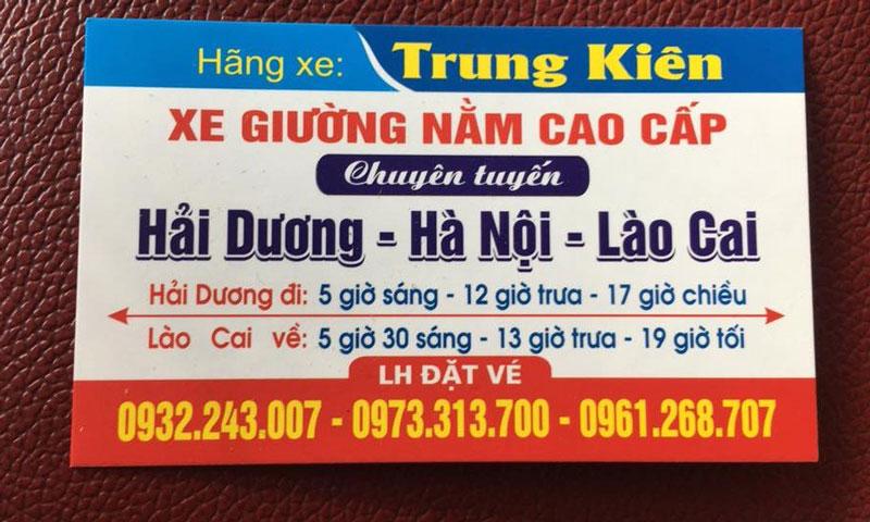 Nhà xe Trung Kiên (Hải Dương - Hà Nội - Lào Cai)