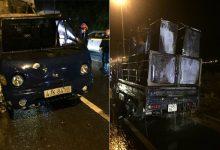 Photo of Xe tải bất ngờ cháy trơ khung trên đường dẫn vào hầm Hải Vân