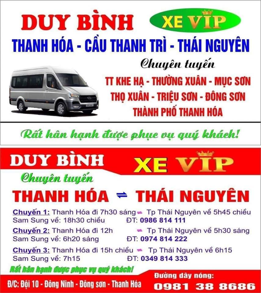 Nhà xe Duy Bình (Thanh Hóa - Cầu Thanh Trì - Thái Nguyên)