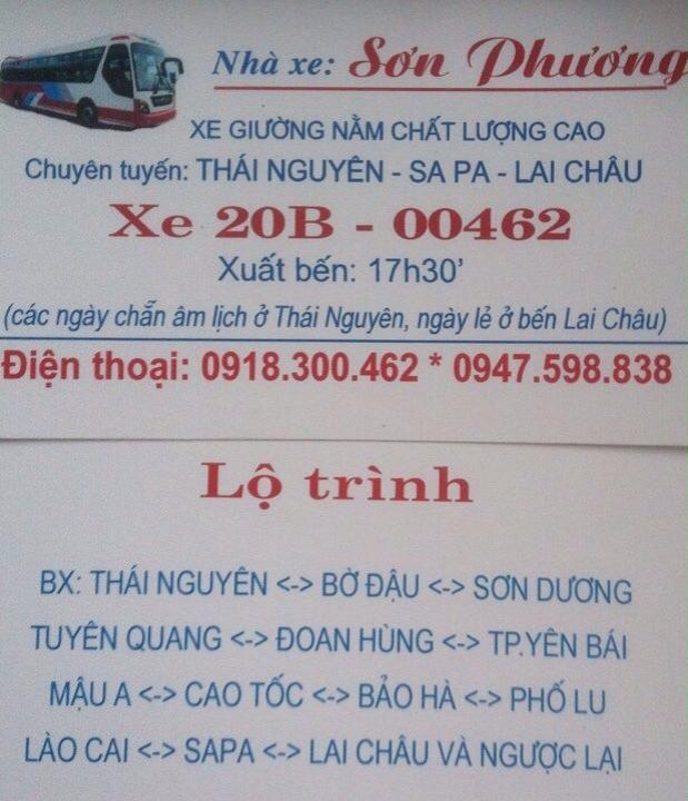 Nhà xe Sơn Phương (Thái Nguyên - Lào Cai - Sapa - Lai Châu)