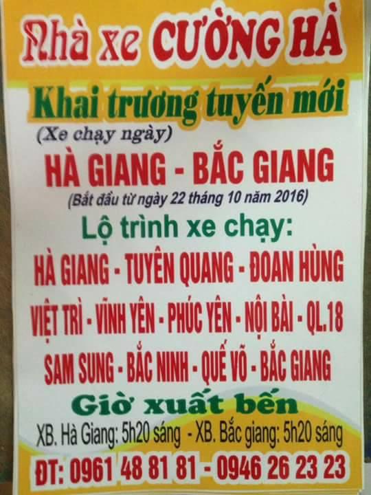 Nhà xe Cường Hà (Hà Giang - Bắc Ninh - Bắc Giang)