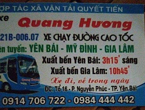 Nhà xe Quang Hương (Yên Bái - Mỹ Đình, Gia Lâm)