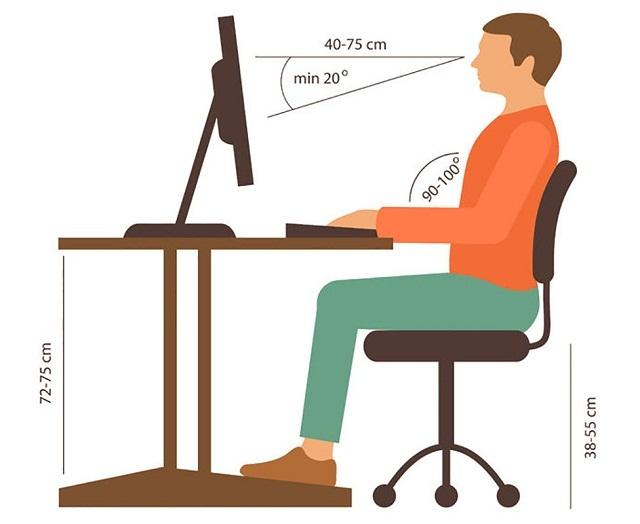 Bạn nên chú ý khoảng cách giữa màn hình máy tính và mắt