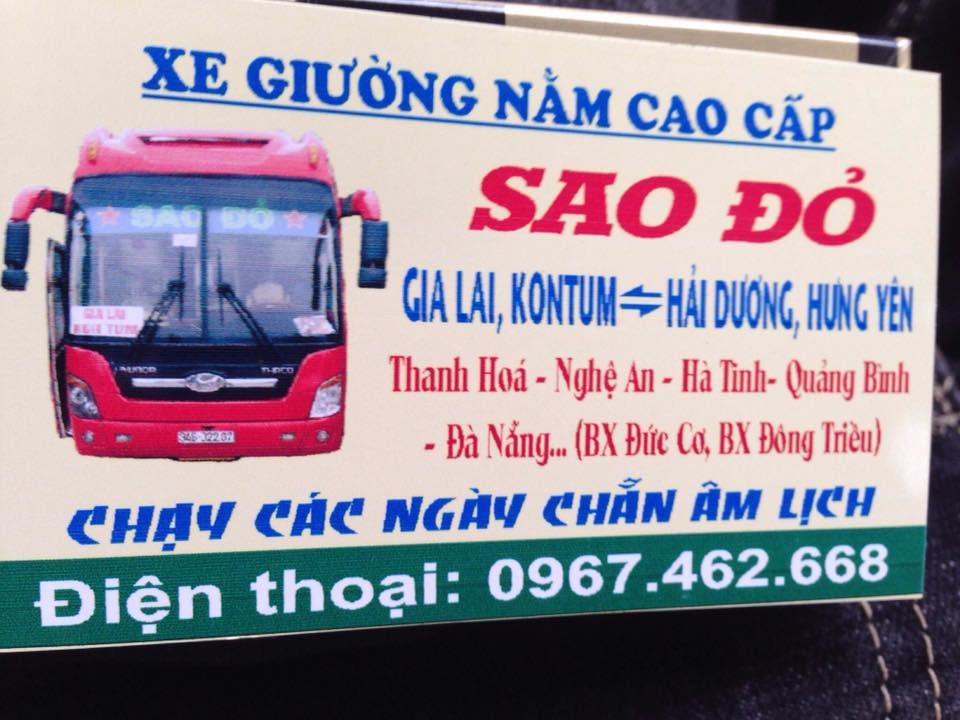 Nhà xe Sao Đỏ (Gia Lai - Hải Dương - Hưng Yên)