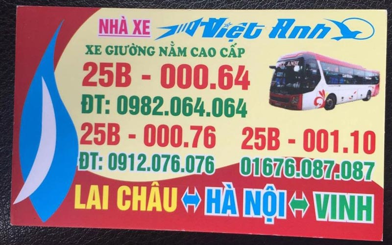 Nhà xe Việt Anh (Lai Châu - Hà Nội - Vinh)