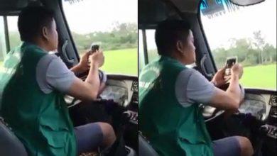 Photo of VIDEO: Tài xế xe buýt bấm điện thoại, dùng khuỷu tay điều khiển vô lăng