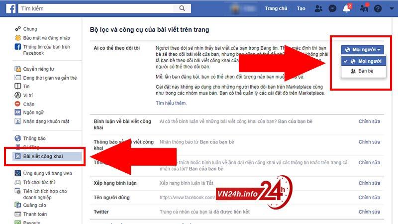 Hoàn tất cài đặt bật chế độ theo dõi trên Facebook