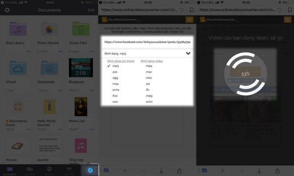 Hình ảnh khi chọn định dạng video trên hệ điều hành IOS