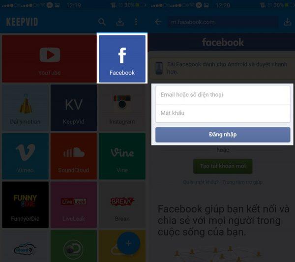 Giao diện đăng nhập Facebook trong phần mềm Keepvid của hệ diều hành Android