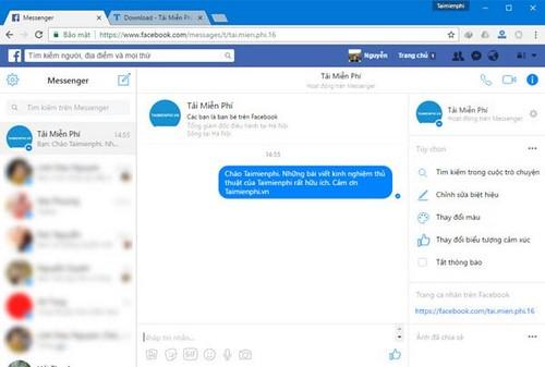 Sử dụng Facebook có thể gửi tệp tin trong phần tin nhắn