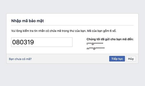 Nhập mã bảo mật Facebook gửi đến email hoặc sđt của bạn