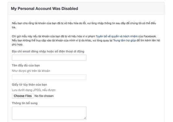 Nhập thông tin chính xác để Facebook có thể điều tra