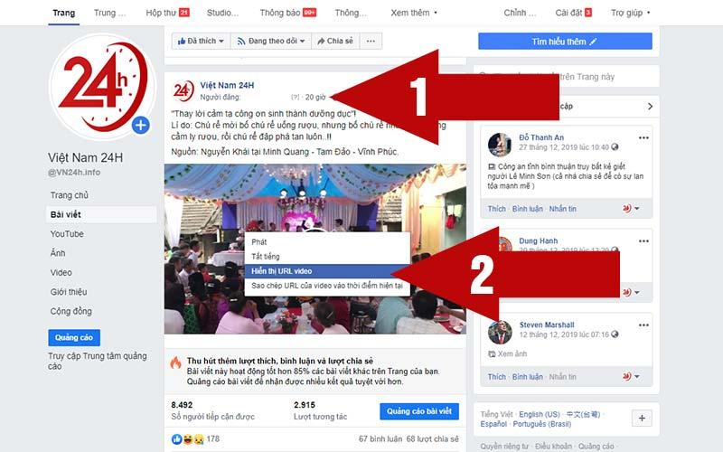 Lấy link video Facebook mà bạn muốn tải về