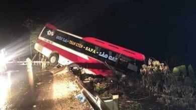 Photo of Xe khách giường nằm mất lái khi vào cua suýt lao xuống vực